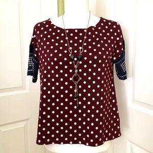 Anthropologie lili's closet polka dot short sleeve